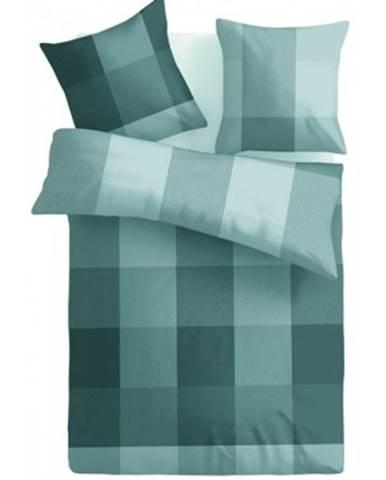 Obliečky Casa, mikroflanel, šedé/svetlo hnedé kocky%
