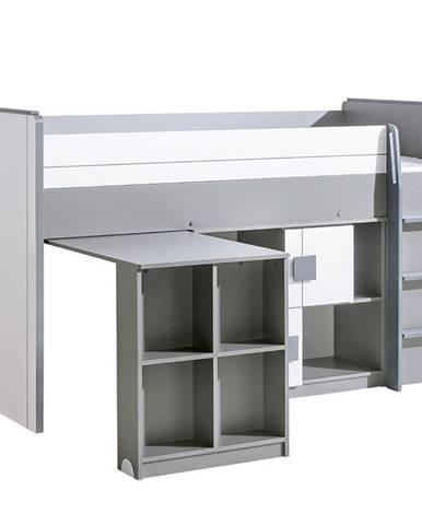 Posteľ Z Písací stôl+Regál Gumi G19 Brilantná biela/Antracyt