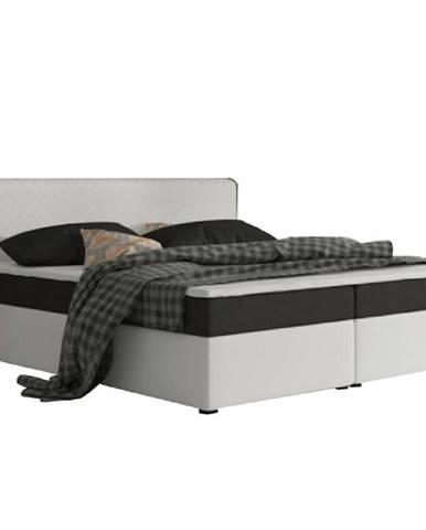 Komfortná posteľ čierna látka/biela ekokoža 160x200 NOVARA MEGAKOMFORT VISCO