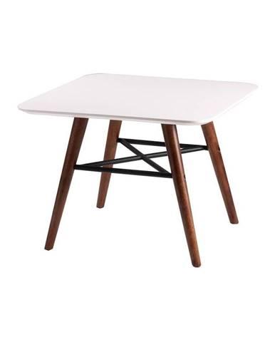 Biely odkladací stolík s tmavohnedým podnožím sømcasa Andy