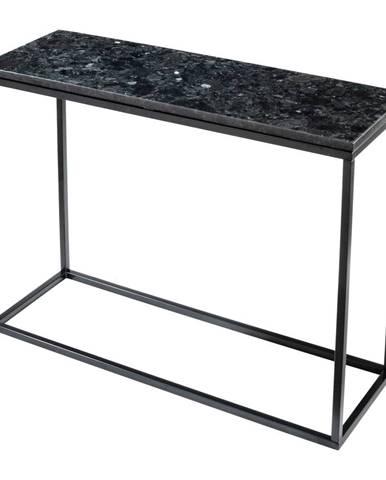 Čierny žulový konzolový stolík s podnožím v čiernej farbe, dĺžka 100 cm
