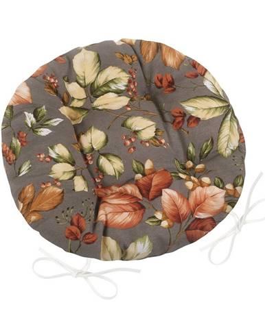Bellatex Sedák Ema okrúhly prešívaný Lístie, 40 cm