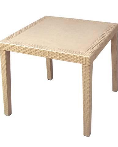 Záhradný stôl Ratan Lux, 73 x 75,5 x 75,5 cm, champagne