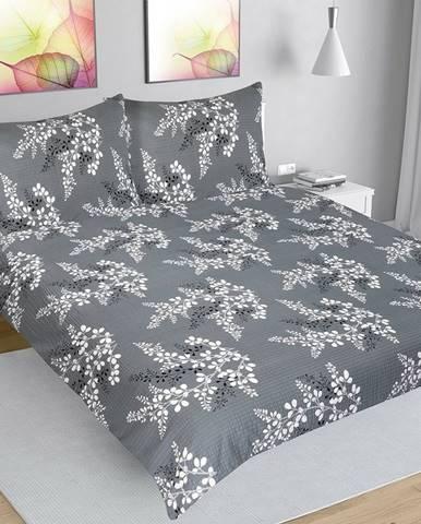Bellatex Krepové obliečky Vetvička sivá, 200 x 200 cm, 2 ks 70 x 90 cm