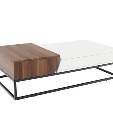 Rozkladací konferenčný stolík biela vysoký lesk HG/orech HOBIT rozbalený tovar