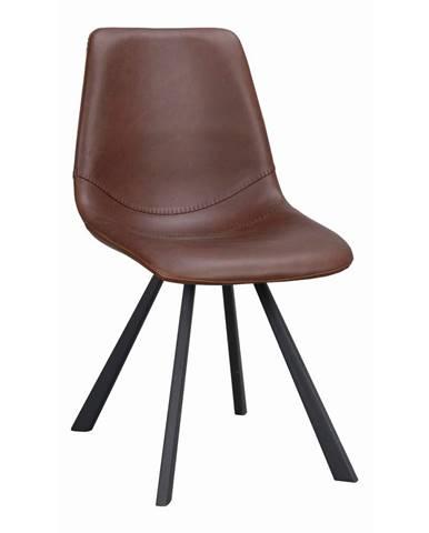 Hnedá jedálenská stolička s čiernymi nohami Rowico Alpha
