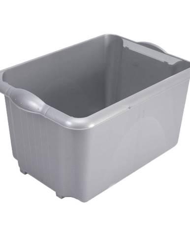 Sivý úložný box Addis Unistore Box Metallic, 30 l