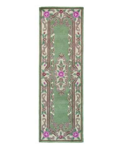 Zelený vlnený behúň Flair Rugs Aubusson, 67 x 210 cm