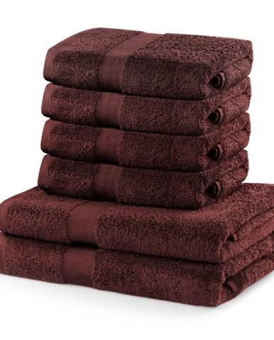 Set 2 hnedých osušiek a 4 uterákov DecoKing Marina