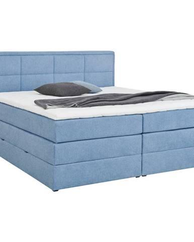Esposa POSTEĽ BOXSPRING, 180/200 cm, drevo, textil, kompozitné drevo, modrá - modrá