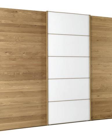 Linea Natura SKRIŇA S POSUVNÝMI DVERMI, dub, biela, farby dubu, 300/217/67 cm - biela, farby dubu