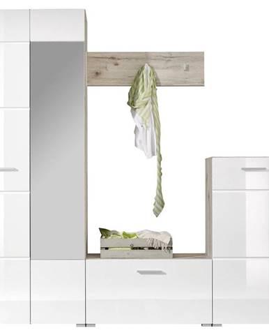 Xora ŠATNÍK, biela, farby dubu, 195/195/36 cm - biela, farby dubu