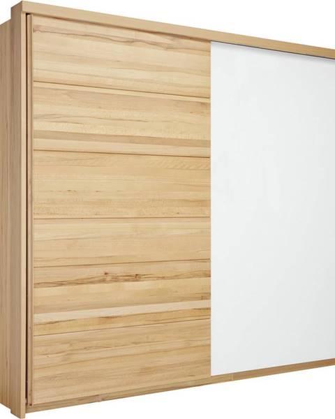 Linea Natura Linea Natura SKRIŇA S POSUVNÝMI DVERMI, jadrový buk, biela, farby buku, 239/216/70 cm - biela, farby buku