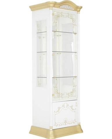 Cantus VITRÍNA, biela, zlatá, 76/209/53 cm - biela, zlatá