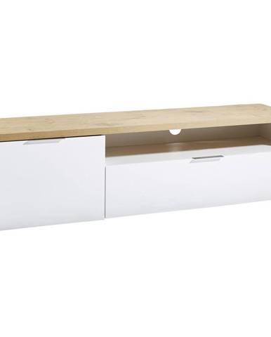 Xora NÍZKA KOMODA, biela, farby dubu, 180/49/43 cm - biela, farby dubu