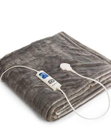 Klarstein Dr. Watson SuperSoft, vyhrievacia deka, 120 W, 180 x 130 cm, chlpatý plyš, krémová/sivá
