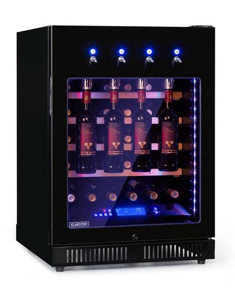 Klarstein Klarstein First Class 36, chladnička na víno, 4 dispenser, 36 fliaš, 5-22°C, čierna