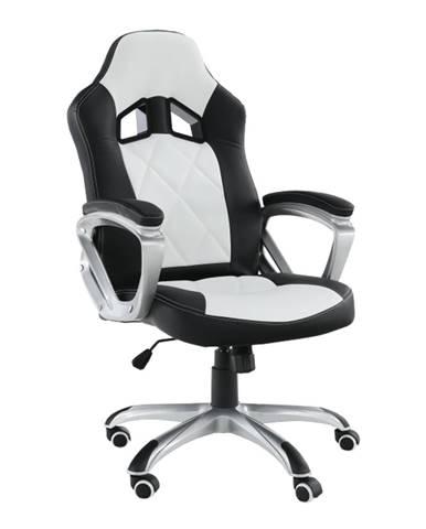 Kancelárske kreslo ekokoža čierna/biela LOTAR
