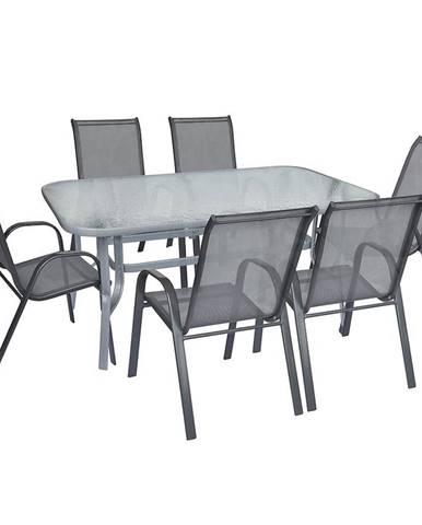 Sada sklenený stôl + 6 stoličiek šedá
