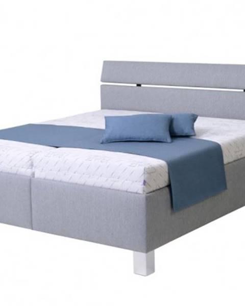 OKAY nábytok Čalúnená posteľ Anne 180x200, sivá, vr. matracov, pol. roštu, ÚP