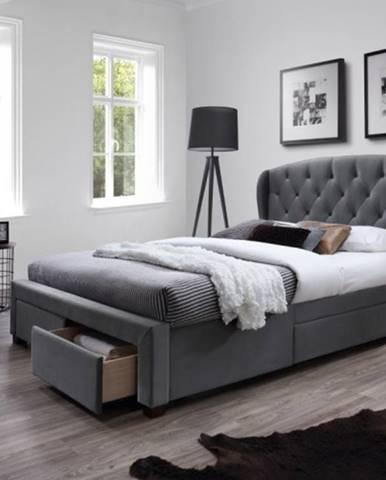 Čalúnená posteľ Etienne 160x200, sivá, vrátane roštu a ÚP