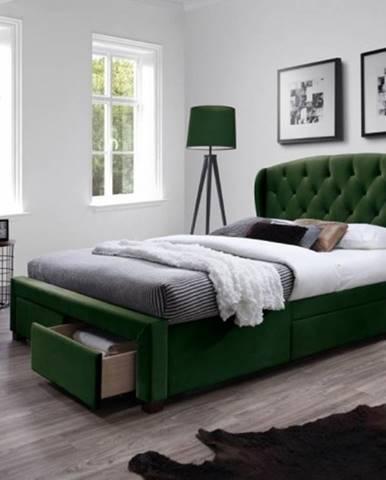 Čalúnená posteľ Etienne 160x200, zelená, vrátane roštu a ÚP