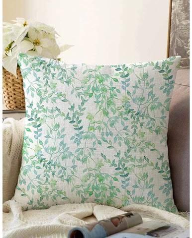 Béžovo-zelená obliečka na vankúš s prímesou bavlny Minimalist Cushion Covers Twiggy, 55 x 55 cm