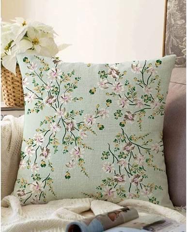 Zelená obliečka na vankúš s prímesou bavlny Minimalist Cushion Covers Bloom, 55 x 55 cm