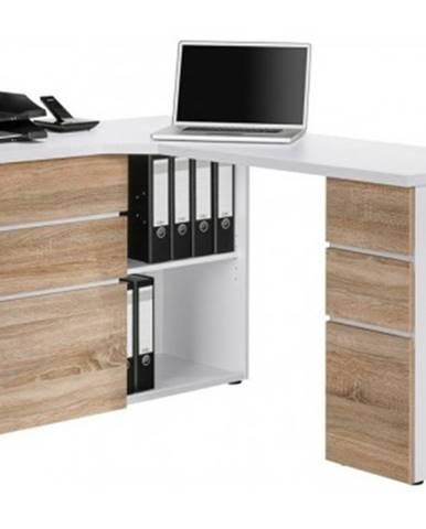 Rohový písací stôl Model 9543, biely/dub sonoma%