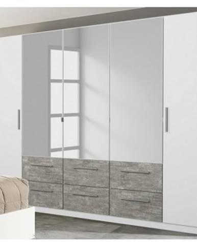 Šatníková skriňa Siegen, 226 cm, biely/sivý betón%