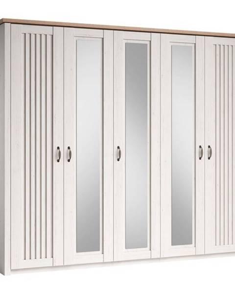 Sconto Šatníková skriňa TRIENT borovica andersen/dub artisan, 5 dverí, 3 zrkadlá
