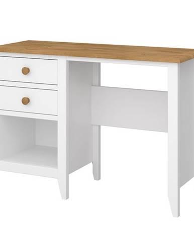 Písací stôl HOLDEN biela/borovica