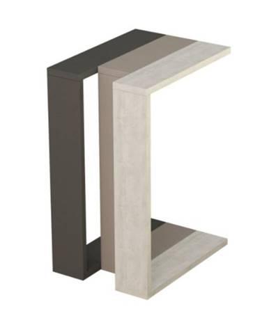 Prístavný stolík MUJU antracit/svetlá mocha