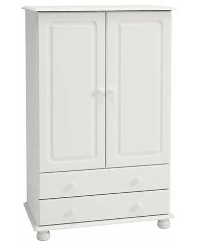 Šatníková skriňa ROCKWOOD biela, 2 zásuvky, 89 cm