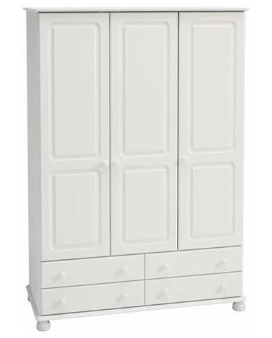 Šatníková skriňa ROCKWOOD biela, 4 zásuvky