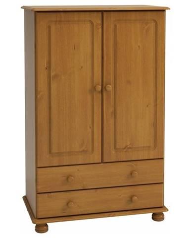 Šatníková skriňa ROCKWOOD borovica masív, 2 zásuvky, 89 cm