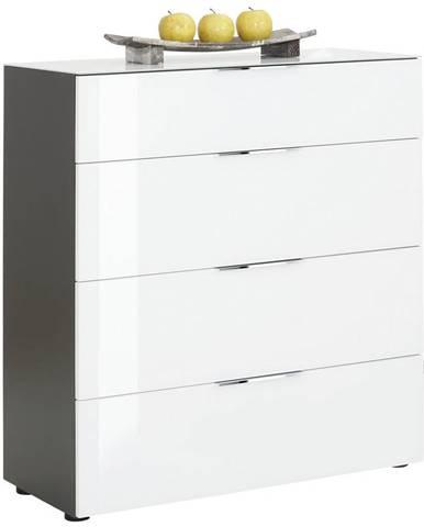 Novel KOMODA, antracitová, biela, 91/100/40 cm - antracitová, biela
