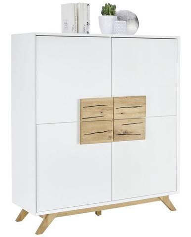 Xora VYSOKÁ KOMODA, dub, biela, farby dubu, 120/133/40 cm - biela, farby dubu