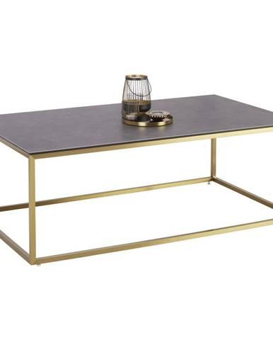 KONFERENČNÝ STOLÍK, čierna, zlatá, kov, sklo, keramika, 120/70/42 cm - čierna, zlatá