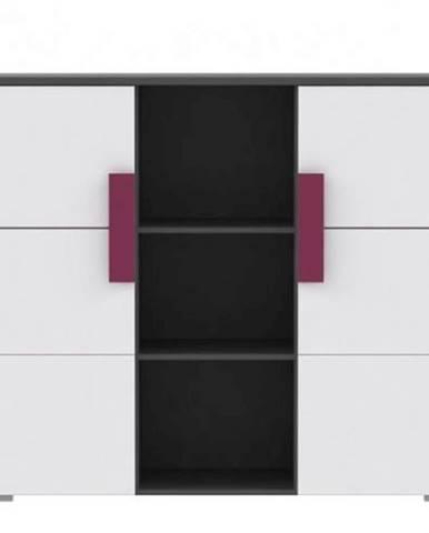 Kombinovaná komoda sivá/biela/fialová LOBETE 43