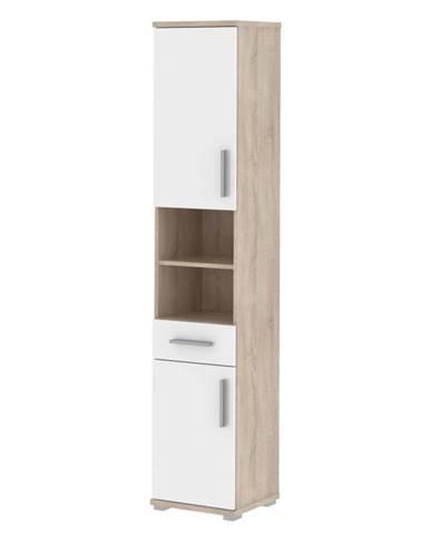 Kombinovaná kúpeľňová skrinka biela pololesk/dub sonoma LESSY LI 05