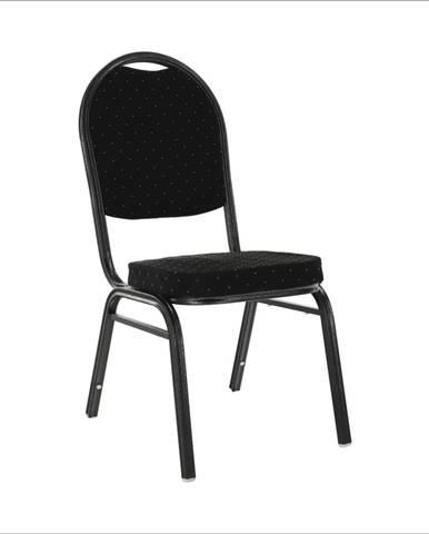 Stolička stohovateľná látka čierna/sivý rám JEFF 2  NEW