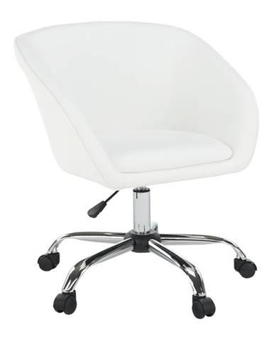 Kancelárske kreslo biela ekokoža/kov LENER