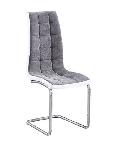 Jedálenská stolička tmavosivá látka/ekokoža biela/chróm SALOMA NEW
