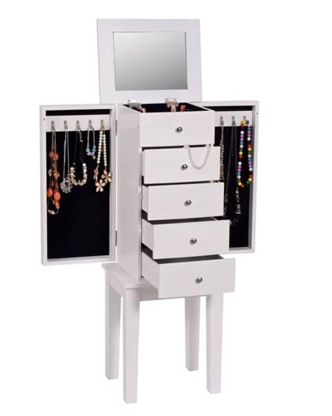 Kondela Šperkovnica so zrkadlom biela DINIS rozbalený tovar