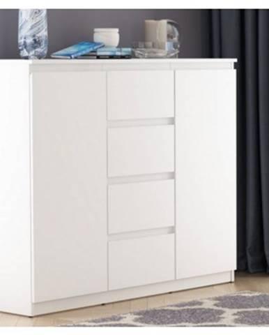 Široká komoda se 4 zásuvkami Carlos, biela, 120 cm%