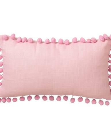 Ružový vankúš Unimasa Pompon, 50 x 30 cm