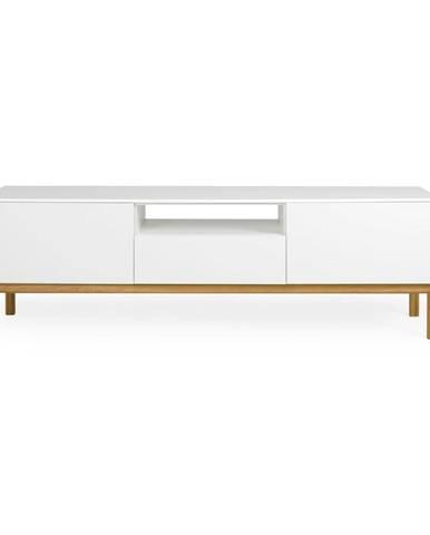 Biely TV stolík s detailmi v dekore dubového dreva Tenzo Patch, šírka 179 cm