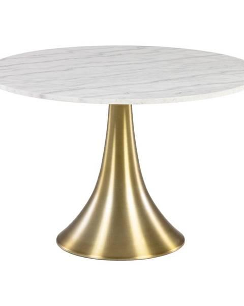 La Forma Biely okrúhly jedálenský stôl v mramorovom dekore La Forma, ø 120 cm