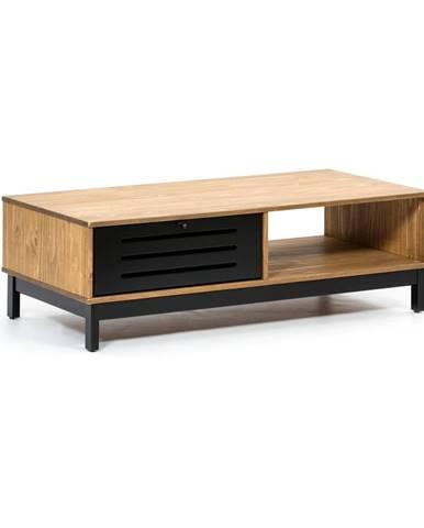 Drevený konferenčný stolík s čiernymi detailmi Marckeric Alessia